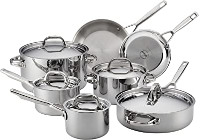 Anolon Triply Clad Stainless Steel Cookware Pots and Pans Set, 12 Piece