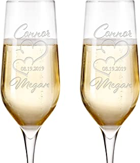 Set of 2, Personalized Mr Mrs Wedding Champagne Flutes - Bride and Groom Champagne Glasses w/ Last Name and Date, Custom Engraved Mr and Mrs Champagne Glass | Wedding Toasting Glasses #9