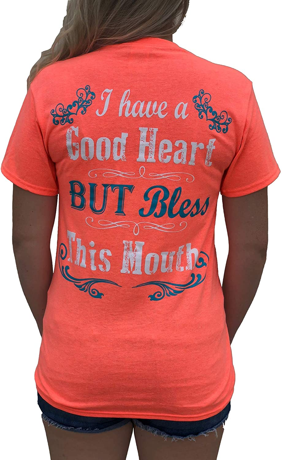 Southern Attitude I Have a Good Heart But Bless This Mouth Heather Coral Funny Women's T-Shirt