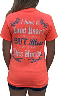 I Have a Good Heart But Bless This Mouth Heather Coral Funny Women's T-Shirt