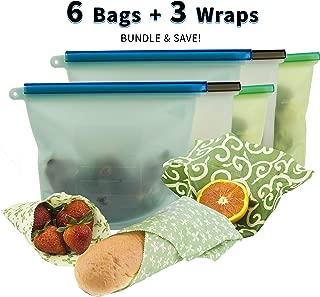 Reusable Silicone Food Storage Bag Bundled With Beeswax Wrap (Set of 9) - Eco Friendly Airtight Seal Leak Proof Reusable Silicone Food Bag - Food Wrap Keeps Fruit Veggies Fresh Sustainable Zero Waste