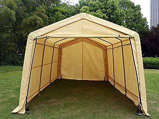 Bestmart INC 10x15ft Heavy Duty Beige Carport Portable Garage Storage Shed Canopy