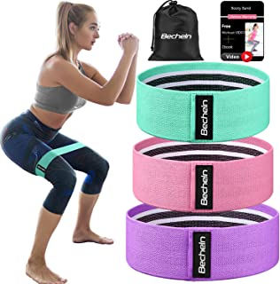 Becheln Booty Bands, Non Slip Resistance Bands for Legs and Butt, Workout Bands Exercise Bands Glute Bands for Women, 3 Pack - Training Ebook and Video Included