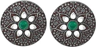 Jewelsiya Black Plated Round Meenakari Green Kundan Stud Tredy Indian Jewellery Earring For Womens And Girls