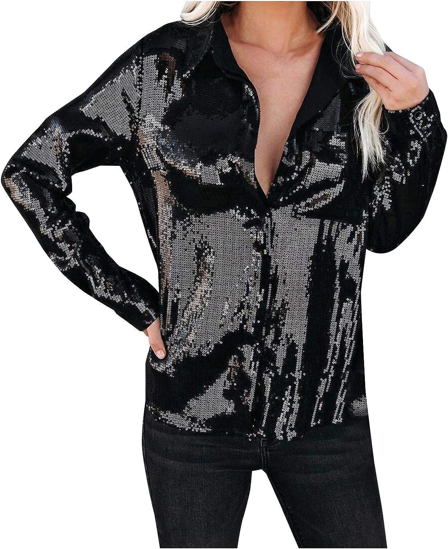 Hemlock Women Sequins Top Long Sleeve Shirts Lapel Button Down Blouse Sequined Shirt Cardigan Tops Work Party Blouse