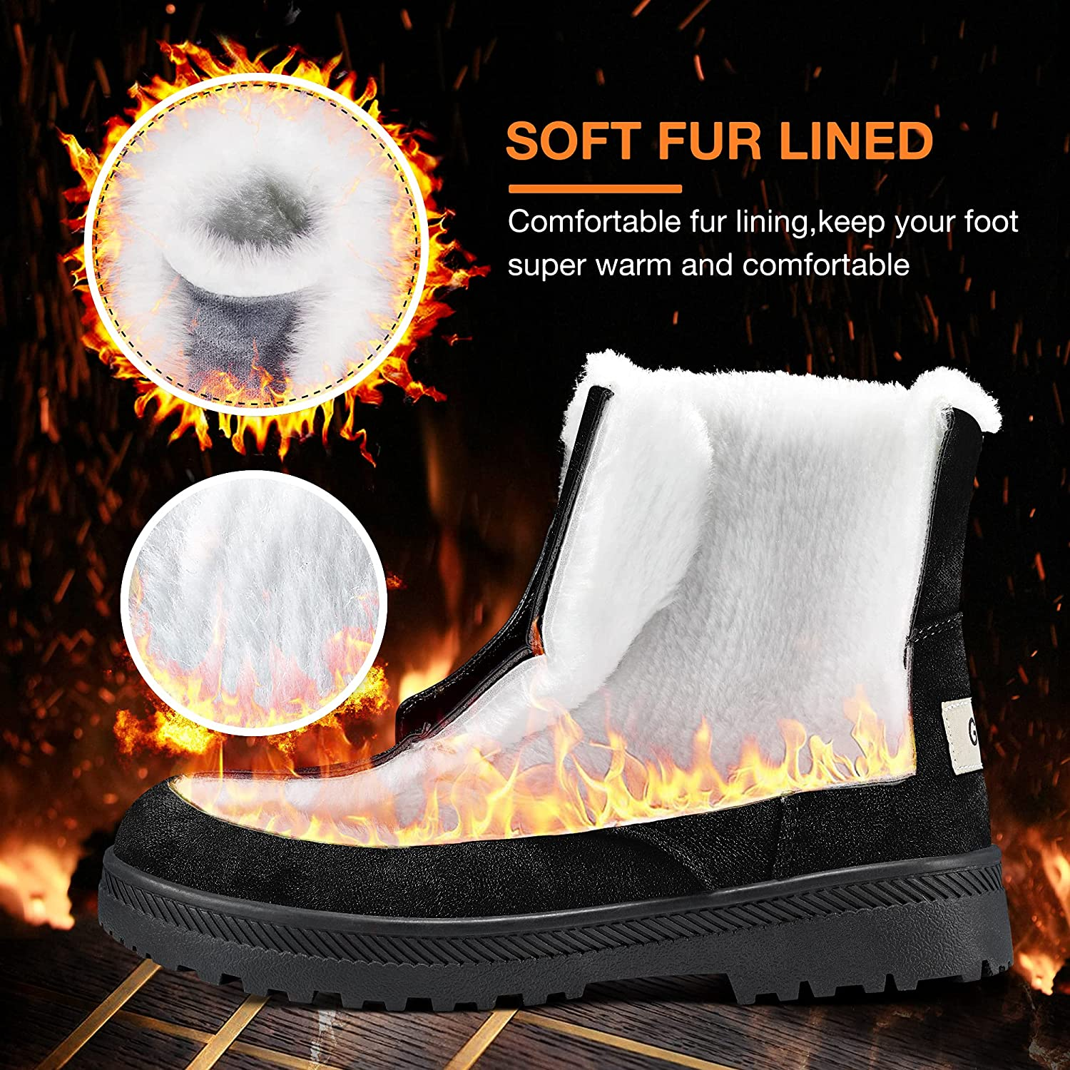 Winter Snow Boots for Women Comfortable Outdoor Anti-Slip Ankle Boots Suede Warm Fur Lined Booties Lace Up Flat Platform Shoes