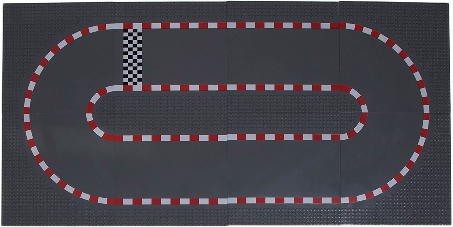 """Classic Baseplates 10"""" x 10"""" Building Brick Base Plate Toy Kit   100% Compatible with All Major Brands   Building Bases for City Roads, Towns, Garages and More   4 Straight and 4 Curved"""