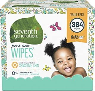 Seventh Generation Baby Wipes, Free & Clear Unscented and Sensitive, Gentle as Water, with Flip Top Dispenser, (Packaging ...