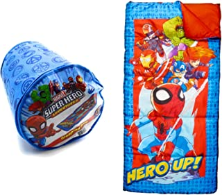 My First Marvel Spider-Man Sleeping Bag - Super Hero Adventures - with Carrying Case for Ages 4-56 inches x 28 inches