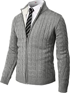 H2H Mens Casual Slim Fit Cardigan Sweaters Long Sleeve V-Neck Front Button
