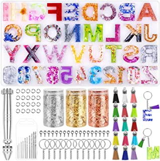 Resin Keychain Mold, Paxcoo Alphabet Resin Mold Kit with Foil Flakes, Keychain Tassels and Pin Vise Set for Resin Casting,...