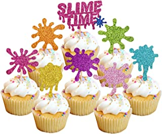 24pcs Glitter Slime Cupcake Toppers for Slime Birthday Party Baby Shower Painting Party Art Themed Party Decoration Supplies