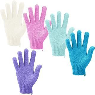 Madholly 5 Pairs Exfoliating Shower Bath Gloves- Body Scrubber for Men and Women Dead Skin Cell Remover 5 Different Colors,colors may vary