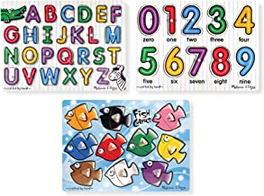 Melissa & Doug Classic Wooden Peg Puzzles, See-Inside Alphabet & Numbers, and Fish Mix & Match Colors, 3-Pack (Great Gift for Girls and Boys - Best for 3, 4, and 5 Year Olds)