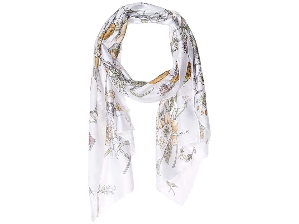 Vince Camuto Flora Oblong Scarf (White Neutral) Scarves