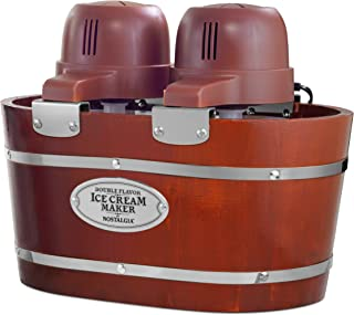 Nostalgia Double Flavor Electric Bucket Ice Cream Maker Makes 4-Quarts in Minutes, Frozen Yogurt, Gelato, Made From Real Wood, Includes Two 2-Qt Canisters