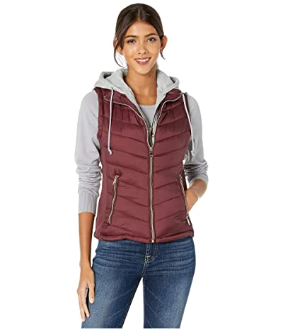 YMI Snobbish Puffer Vest with Removable Sweatshirt Hoodie (Sangria) Women