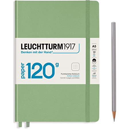 LEUCHTTURM1917 - 120G Special Edition - Medium A5 Dotted Hardcover Notebook (Sage) - 203 Numbered Pages with 120gsm Paper