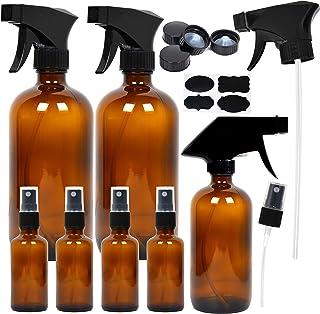 7 Amber Glass Spray Bottles, 2 Pack 16 oz Empty Amber Spray Bottles, 1 Pack 8 oz Amber Spray Glass Bottle and 4 Pack 2 oz Glass Amber Spray Bottles for Essential Oils