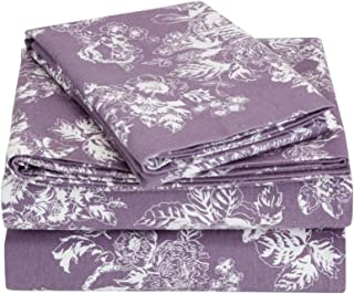 170 GSM Non-Holiday Printed Flannel Sheet Set, Floral Lavender, Twin XL