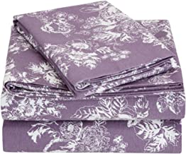 Pinzon Cotton Flannel Bed Sheet Set - California King, Floral Lavender