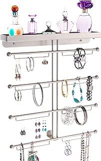 Angelynn's Bracelet Display Wall Mount Jewelry Organizer Earring Holder Necklace Rack Closet Storage Shelf, Carol Satin Nickel Silver