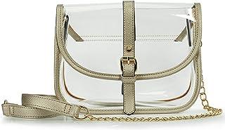 Clear Saddle Cross Body Bag Women Chain Shoulder Handbag Purse with Faux Leather Trim