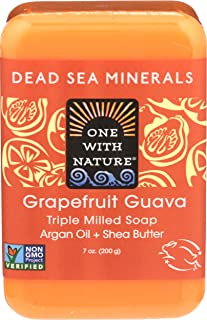 One With Nature Grapefruit Guava Dead Sea Mineral Soap, 7 Ounce Bar