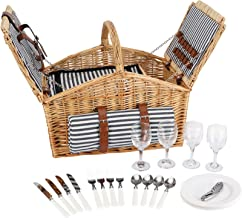 HappyPicnic 'Huntsman' Willow Picnic Hamper for 4 Persons with Double Lids and 'Built-in' Insulated Cooler, Natural Wicker...