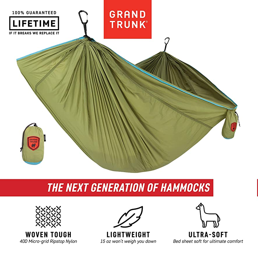 Grand Trunk Trunk Tech Single Hammock: Strong, Light, and Portable with Carabiners and Hanging Kit - Perfect for Outdoor Adventures, Backpacking, and Festivals