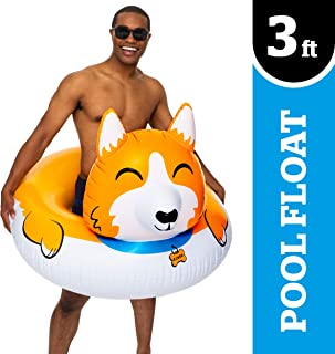 BigMouth Inc. Corgi Pool Float, Thick Vinyl Raft, Holds 200 Pounds and Includes Patch Kit 48: x 48