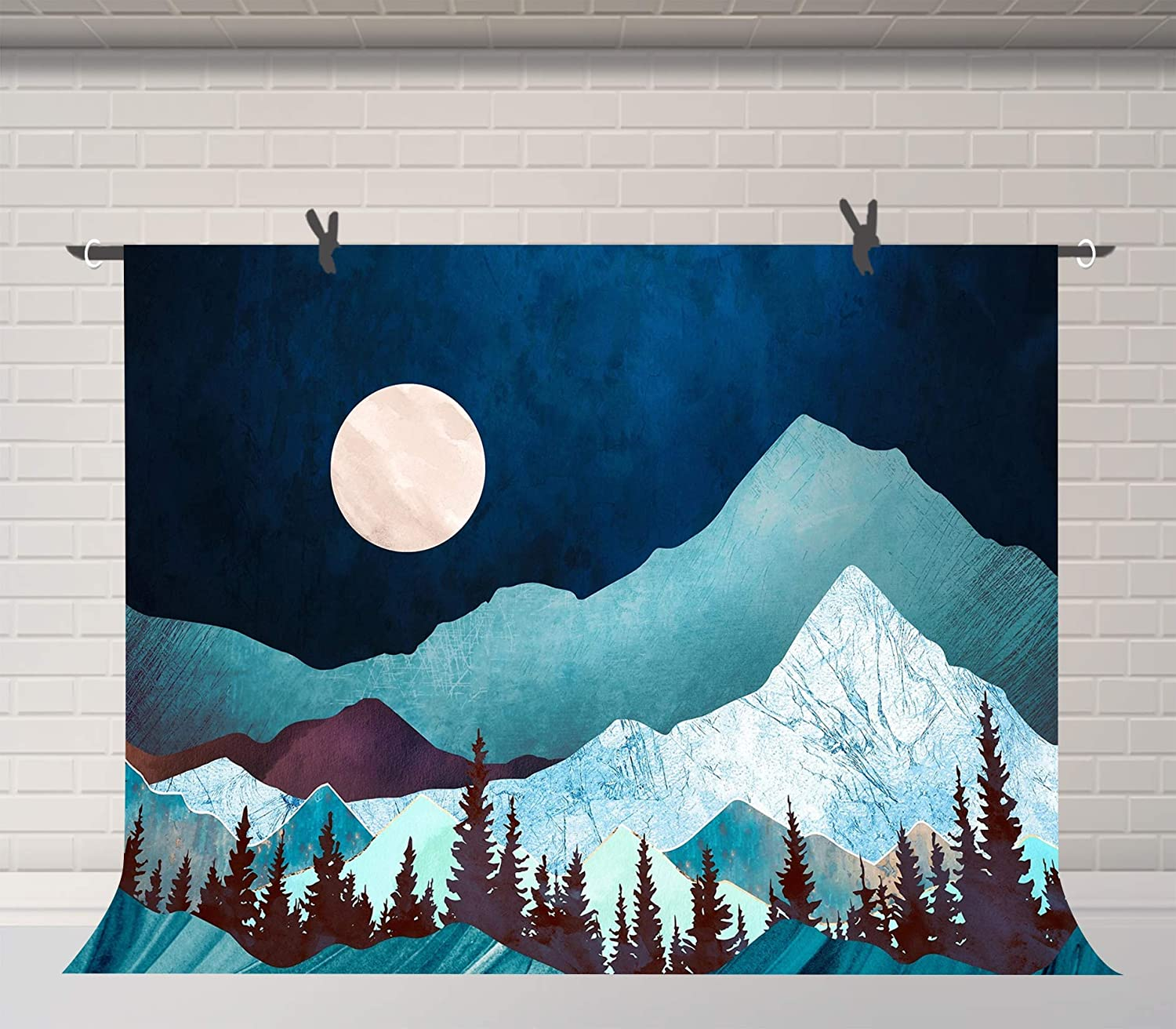10x6.5ft Moon Mountain Backdrop Photography Props for Men Room Wall Mural Decor Portrait Photos,Background LHFU679