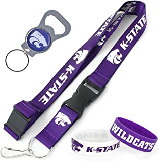 aminco NCAA Kansas State Wildcats Team Lanyard, Bottle Opener Keyring and Rubber Wristbands Gift Bundle