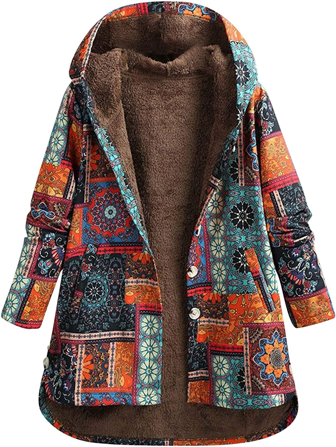 Forwelly Plus Size Jacket for Womens Winter Warm Lined Outwear Vintage Print Oversize Coats with Hooded Pockets