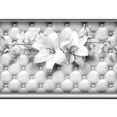 Fototapete Schmetterlinge grau Blumen Polster Leder Blumenranke Ornamente