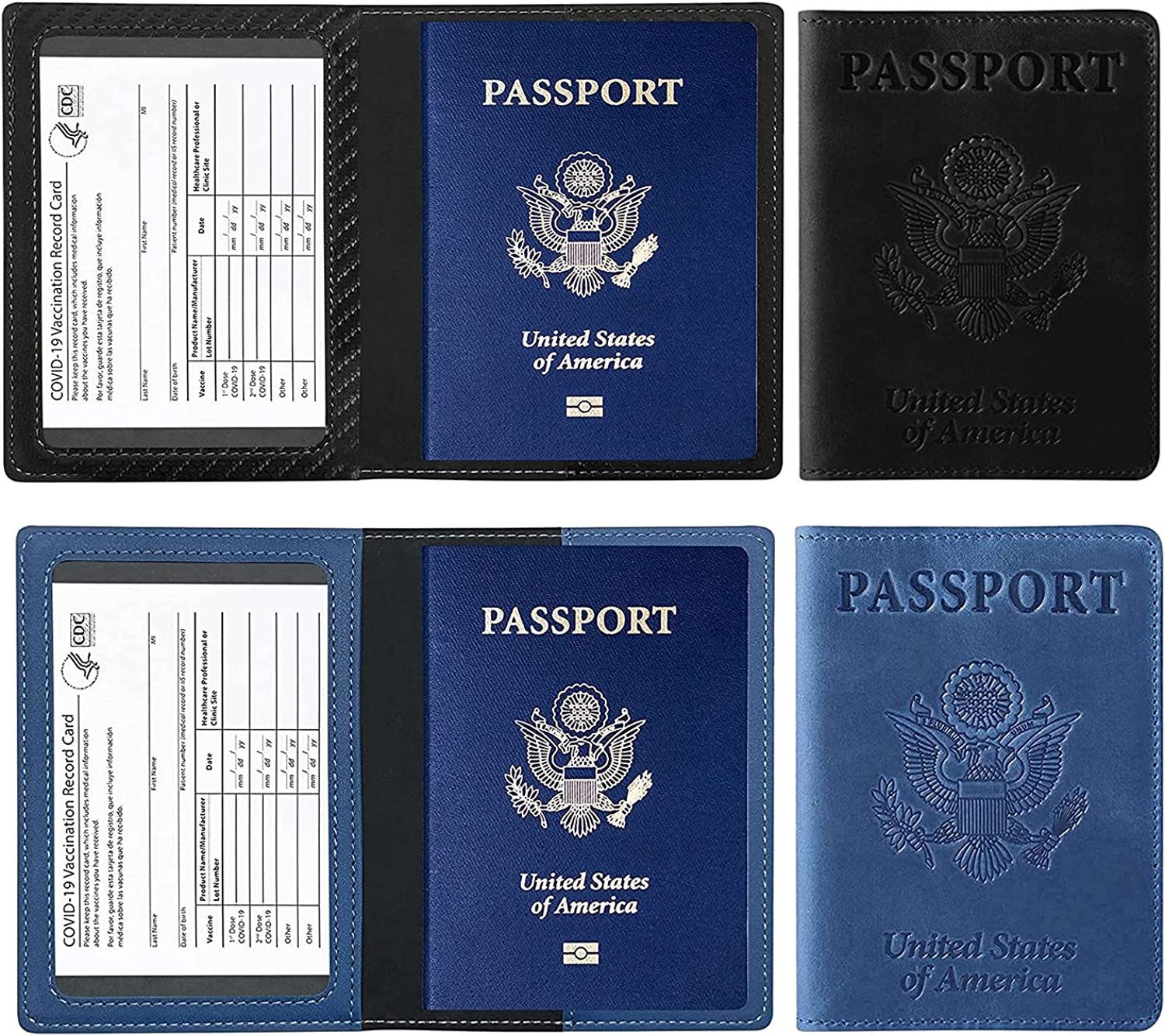 2 PCS Multifunctional PU Leather Hol Passport Max 67% OFF Vaccine Card Cover Kansas City Mall