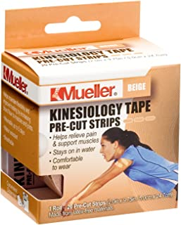 Mueller Sports Medicine Kinesiology Tape Pre-Cut Strips, Beige, 20 Strips (2