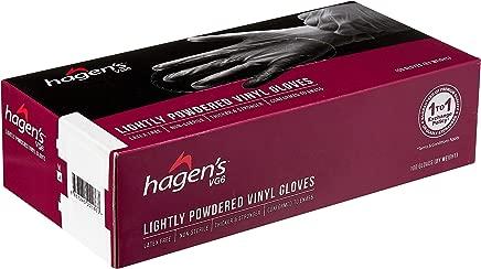 Hagen's VG6 Lightly Powdered White Vinyl Gloves, M Size, 100ct