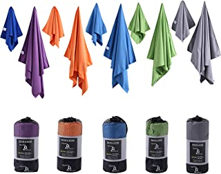 SportsMicro Microfibre Towel Set – Ultra Absorbent and Quick Drying XL Beach Towel with Hand Towel – Silky Soft Sport Towe...