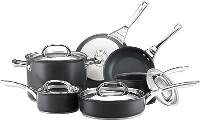 Circulon Infinite Hard Anodized Nonstick Cookware Pots and Pans Set, 10 Piece, Black