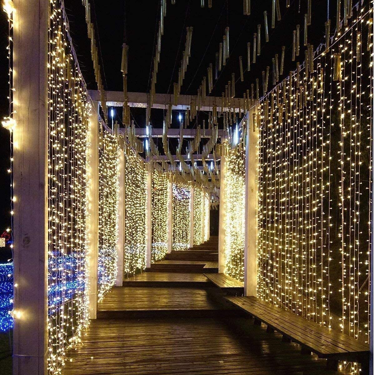 Daliuings Practically Outdoor 3X2M trust 3X3M Year-end gift LED Powered Curtai Solar