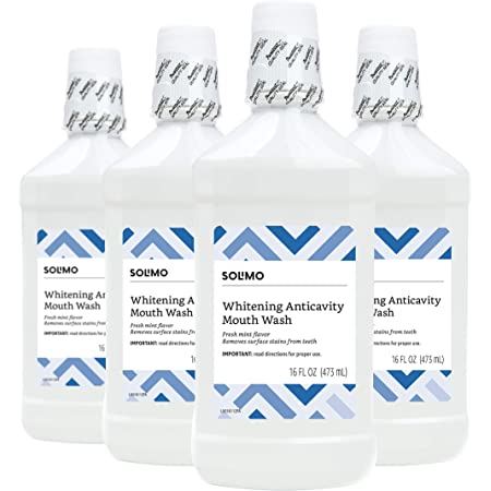 Amazon Brand - Solimo Whitening Anticavity Mouthwash, 16 Fluid Ounces, Pack of 4