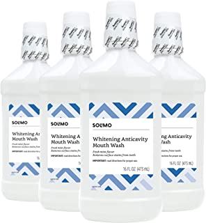 Amazon Brand - Solimo Whitening Anticavity Mouthwash, 16 Fluid Ounce (Pack of 4)