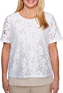 Alfred Dunner Women's Petite Lace Overlay Pinstripe Woven Top