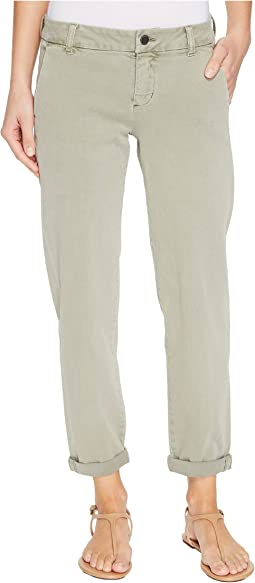 Billy Trousers Rolled-Cuff in Stretch Peached Twill in Shadow Green