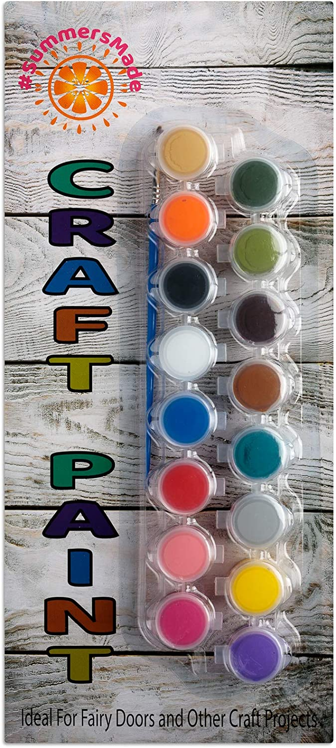 SummersMade Kids Paint- Non Toxic Washable Paint Set and Art Supplies for Arts and Crafts - (1 pack of 16 Vibrant Color Palette and 1 Paint Brush)
