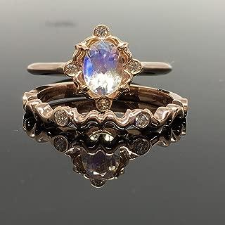 14K Rose Gold Moonstone Engagement Ring Set - Rose Gold Moonstone Bridal Set - Victorian Rainbow Moonstone Engagement Ring and Wedding Band - Vintage Inspired Bridal Jewelry