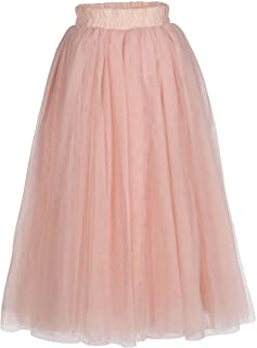 Everweekend Flower Girls Tutu Skirts Princess Candy Color Tulle Maxi Skirts for Birthdany Party