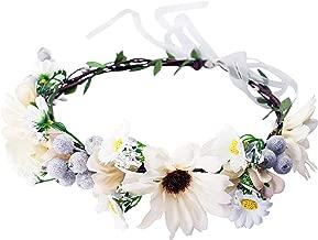 Boho Flower Crown Floral Garland Headband Flower Halo Headpiece with Ribbon Wedding Festival Party Photos