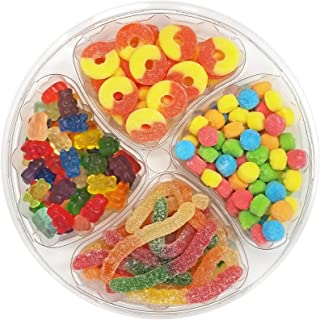 Happy Bites Gummi Favorites Party & Gift Tray - Featuring Gummi Bears, Peach Rings, Sour Neon Faces & Sour Worms - Resealable, 2.5 lbs (40 oz)